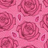 与被加点的玫瑰色花的无缝的样式在白色的黑和装饰鞋带在桃红色背景 免版税库存图片