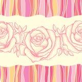 与被加点的玫瑰色花的无缝的样式在背景的桃红色与五颜六色的条纹 库存例证