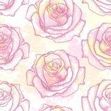 与被加点的玫瑰色花的无缝的样式在背景的桃红色与在淡色的污点 在dotwork样式的花卉背景 库存图片
