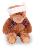 与被包扎的头的玩具熊 库存图片