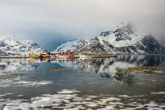 与被反射的村庄和云彩的风景在Lofoten,挪威 免版税库存照片