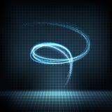 与被变形的线,明亮的闪闪发光的发光的霓虹漩涡 向量例证