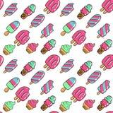 与被咬住的冰淇淋的传染媒介时髦无缝的样式 在白色背景的现代夏天时尚印刷品 手拉概述的颜色 库存例证