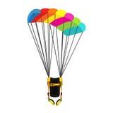与被打开的降伞的伞包 Skydiving明亮的极端运动器材 免版税库存照片