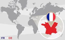 与被扩大化的法国的世界地图 皇族释放例证