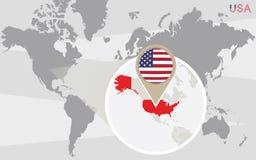 与被扩大化的美国的世界地图 皇族释放例证