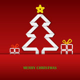 与被折叠的白皮书树模板的圣诞卡 库存照片