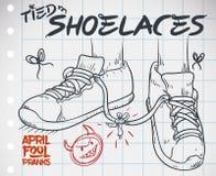 画与被栓的鞋带胡闹为愚人`天,传染媒介例证 免版税库存图片