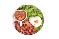 与被油炸的鸡和日本黄色咖喱的茉莉花米 库存照片