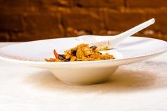 与被炖的菜和酱油的沙拉 库存图片