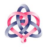 与被点刻的麦比乌斯带的心脏标志的Triquetra凯尔特结 在爱标志的团结 也corel凹道例证向量 向量例证