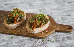 与被烘烤的菜美味的三明治 库存照片