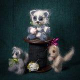 与被编织的动物的艺术性的构成 库存图片