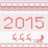 与被编织的纹理的圣诞快乐样式 免版税库存照片