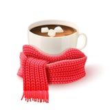 与被编织的围巾印刷品的杯巧克力 图库摄影
