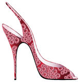 与被补花的开花的红色凉鞋 免版税库存图片