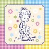 与被设置的孩子模式的逗人喜爱的女婴向量例证 免版税库存照片