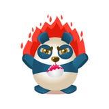 与被赋予人性的动画片熊字符的逗人喜爱的熊猫活动例证在充满愤怒的火 向量例证