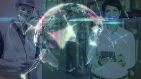 与被连接的世界的动画结合的仓库结构的两个仓库情况 影视素材