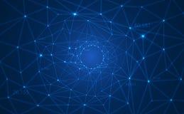 与被连接的形成在大数据形象化列阵的线和小点的摘要传染媒介多角形背景一个圈子数字 库存例证