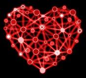 与被连接的点的发光的红色心脏 免版税图库摄影