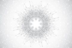 与被连接的线和小点的几何抽象圆的形式 简单派混乱背景 线性标志,标志 图象 免版税库存图片