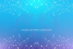 与被连接的线和小点的几何抽象背景 大数据构成 分子和通信背景 向量例证