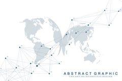 与被连接的线和小点的几何抽象背景 您的介绍的网络和连接背景 皇族释放例证
