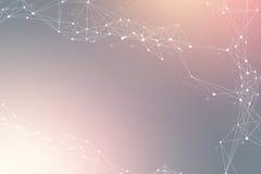 与被连接的线和小点的几何抽象背景 您的介绍的网络和连接背景 免版税图库摄影