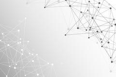 与被连接的线和小点的几何抽象背景 结构分子和通信 科学概念为 免版税库存图片