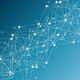 与被连接的线和小点的几何抽象背景 结构分子和通信 科学概念为 免版税库存照片