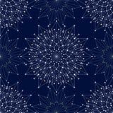 与被连接的线和小点的无缝的几何样式 也corel凹道例证向量 免版税库存照片