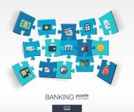 与被连接的颜色的抽象银行业务背景困惑,集成了平的象 3d与金钱,卡片,银行的infographic概念 免版税库存图片