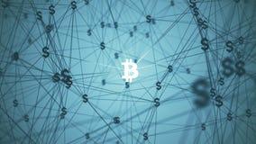 与被连接的bitcoin象的摘要 库存图片
