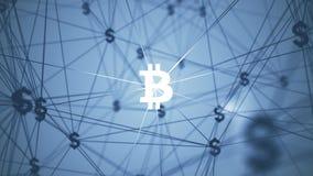 与被连接的bitcoin象的摘要 免版税库存图片