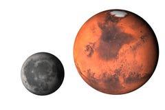 与被隔绝的月亮的行星火星 免版税库存照片