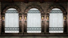 与被隔绝的栏杆的曲拱 免版税库存照片