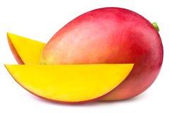 与被隔绝的两个切片的芒果 库存照片