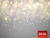 与被隔绝的发光的微粒的金黄bokeh光 向量 皇族释放例证