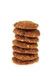 与被隔绝的巧克力片和坚果的曲奇饼生物谷物 库存图片