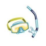 与被隔绝的废气管的佩戴水肺的潜水玻璃 图库摄影