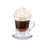 与被隔绝的打好的奶油的牛奶咖啡 库存照片