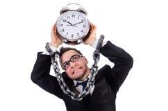 与被隔绝的时钟的商人 库存图片