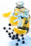 与被隔绝的泡影和新鲜水果的自创柠檬水 免版税图库摄影