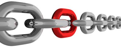 与被隔绝的红色元素的金属链式线 免版税库存照片