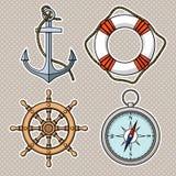 与被隔绝的船锚, lifebuoy,船的轮子,指南针的传染媒介集合 图库摄影
