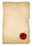 与被隔绝的蜡封印的老纸 免版税库存图片