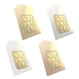 给与被隔绝的金黄电路微集成电路的西姆卡片打电话 免版税库存图片