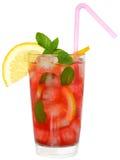 与被隔绝的水果鸡尾酒和薄荷叶的玻璃 免版税库存图片