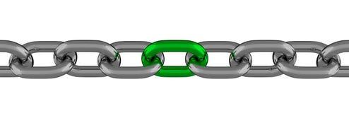 与被隔绝的绿色元素的金属链式线 免版税图库摄影